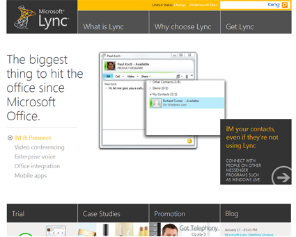Microsoft Lync Site - Redesign