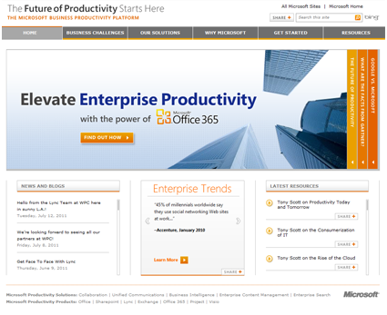 Microsoft Business Productivity SharePoint 2010 Site